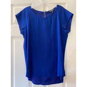 Blue and Red flowy Express blouse - Size M